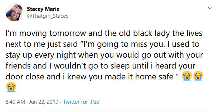 caring neighbor old black lady