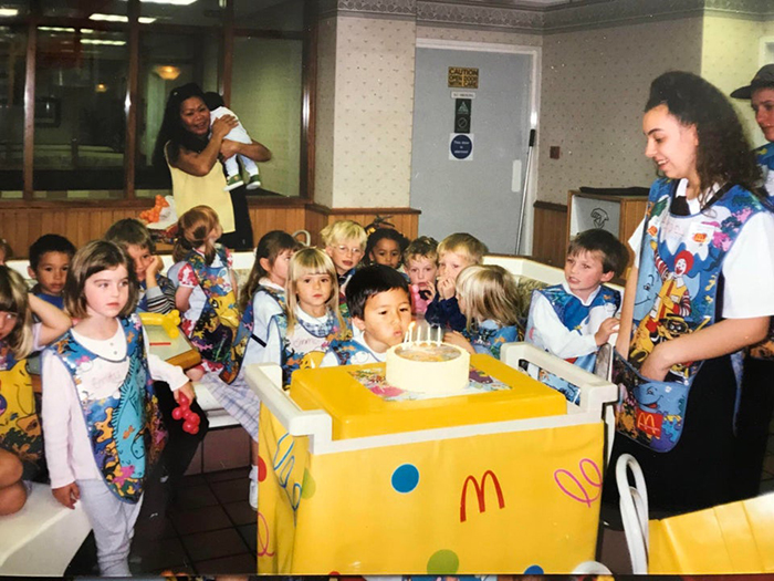 children's birthday party at a fast food chain