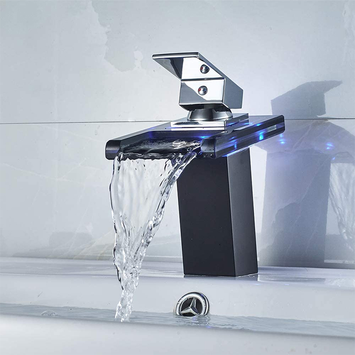 color-changing faucet black open waterfall