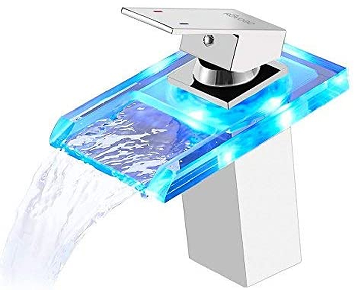 color-changing faucet chrome open waterfall