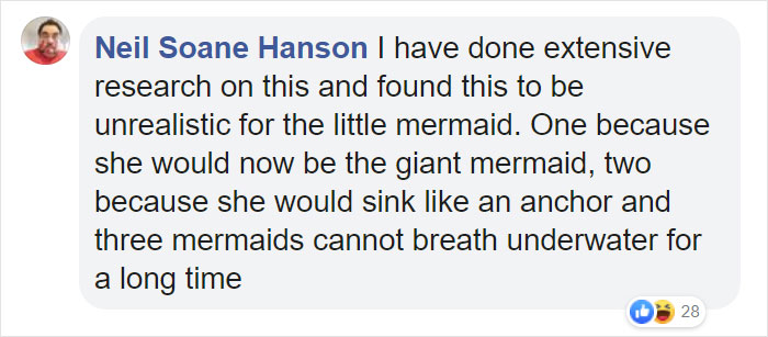 comment on fat disney princesses - unrealistic for little mermaid