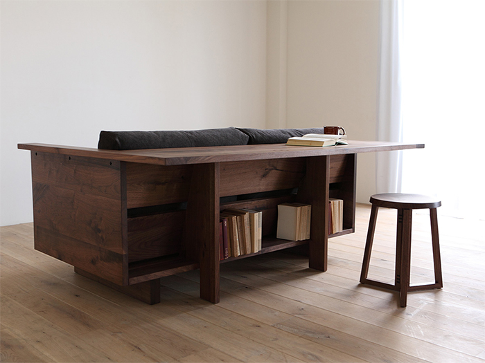 couch table with bookshelves