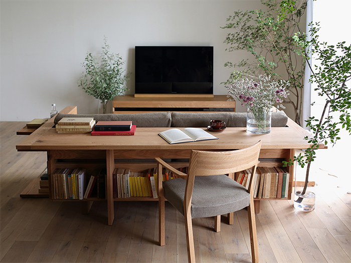 couch table with shelving