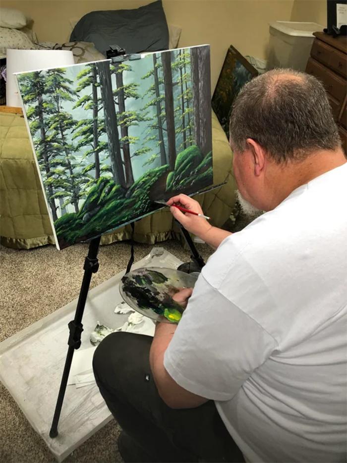dad paints after retirement