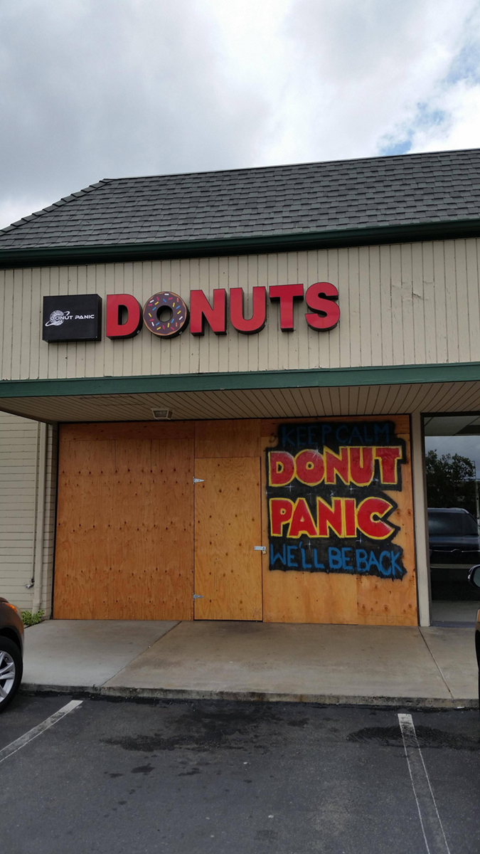 donut shop puts sign to reassure patrons