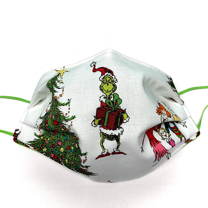 dr seuss christmas themed face covering white