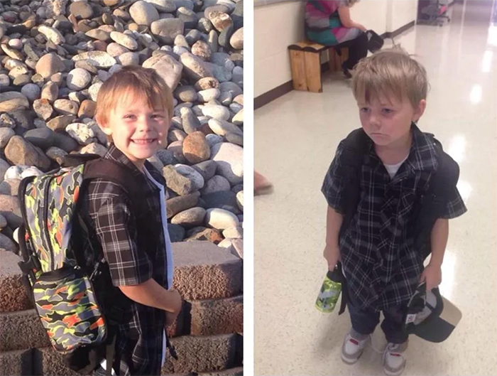 first day of school before and after photos