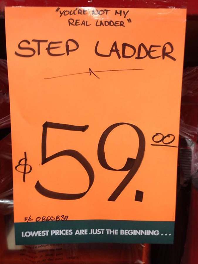 hardware store makes a joke about step ladders