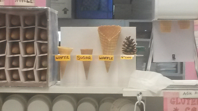 funny ice cream shop cone display