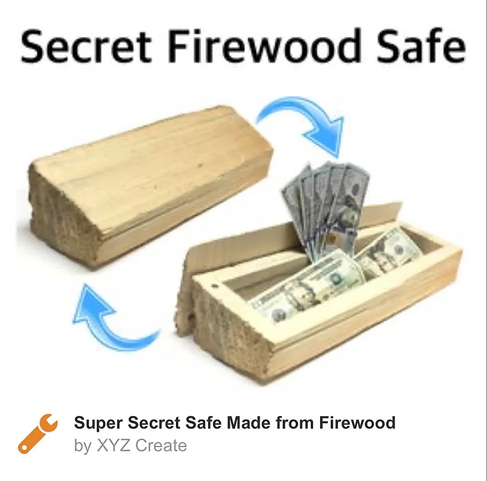 funny product concept secret firewood safe