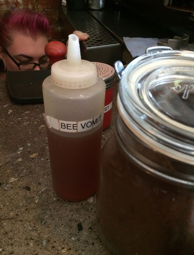 store labels honey as bee vomit