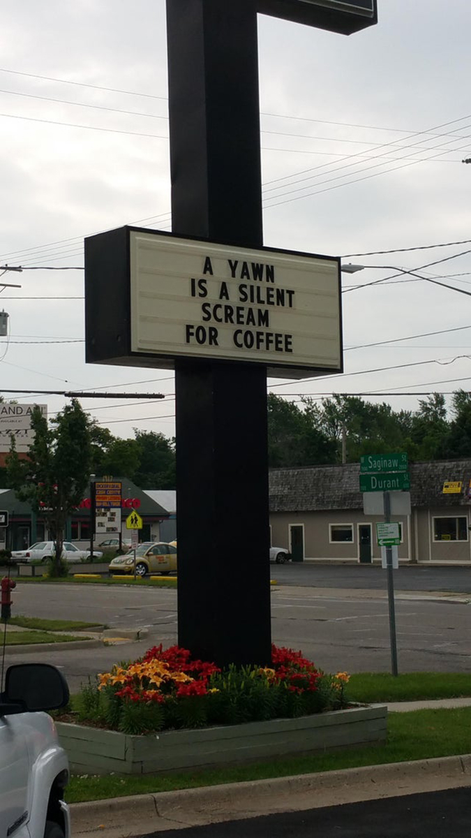 clever coffee shop sign