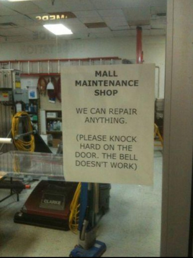 funny shops ironic sign outside mall maintenance shop