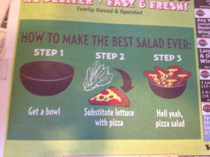 funny shops pizza salad