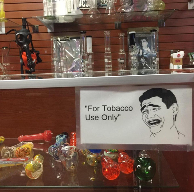 funny smoke shop sign