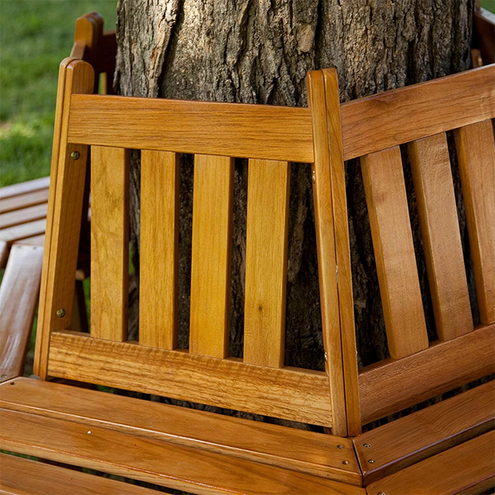 hexagonal outdoor wooden seating with backrests