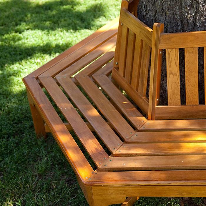 hexagonal outdoor wooden seating