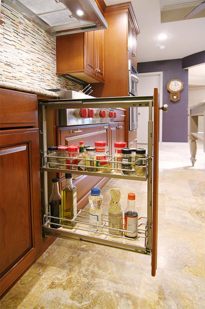 hidden storage ideas kitchen sliding compartment