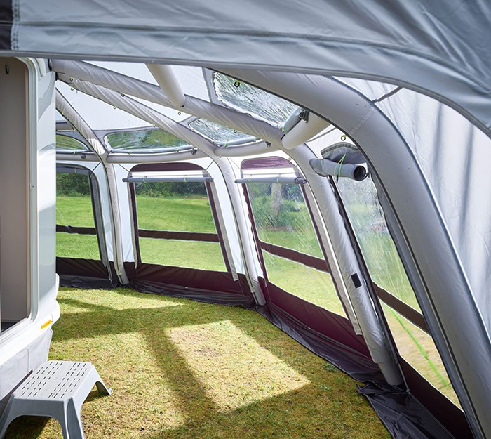 inflatable awning with a wrap-around shape
