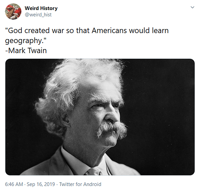 interesting historical facts mark twain war geography