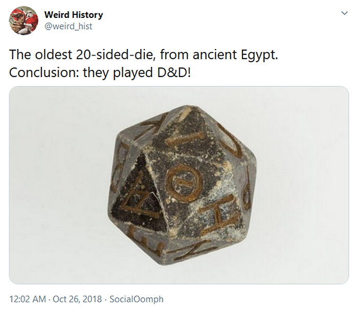 interesting historical facts oldest 20 sided die