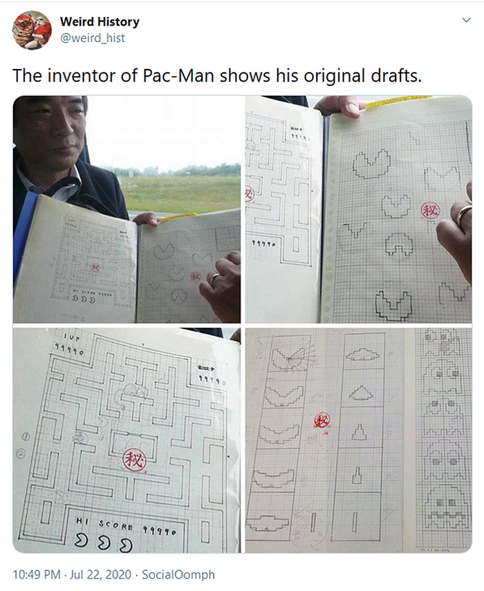 interesting historical facts pacman original drafts