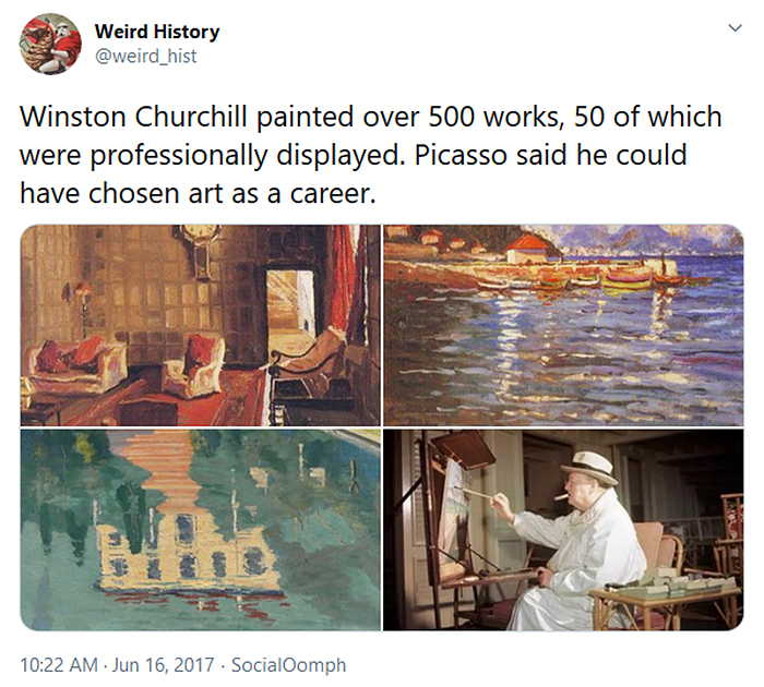 interesting historical facts winston churchill paintings