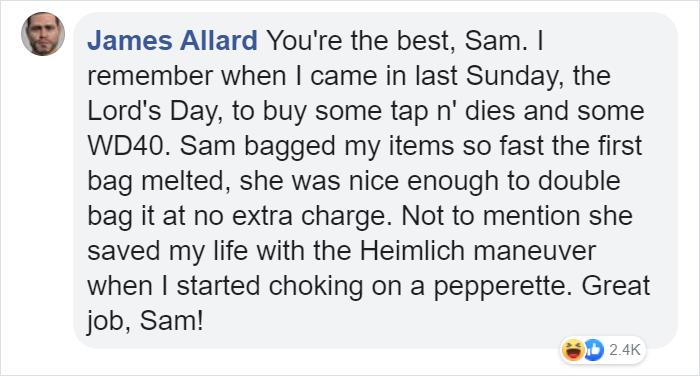 james allard facebook comment walmart streator sam reynolds