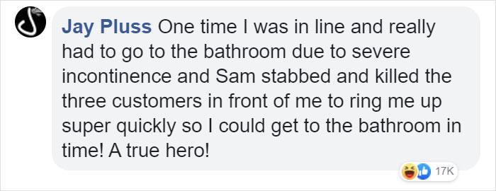 jay pluss facebook comment walmart streator sam reynolds