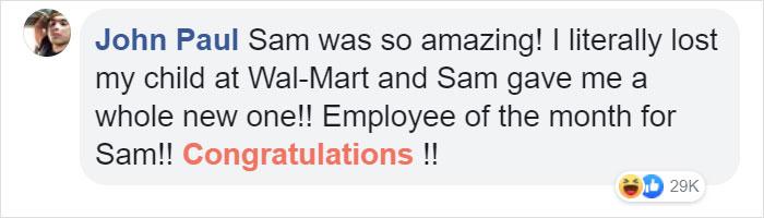 john paul facebook comment walmart streator sam reynolds