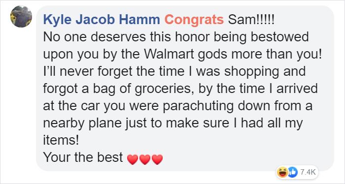 kyle jacob hamm facebook comment walmart streator cashier of the week