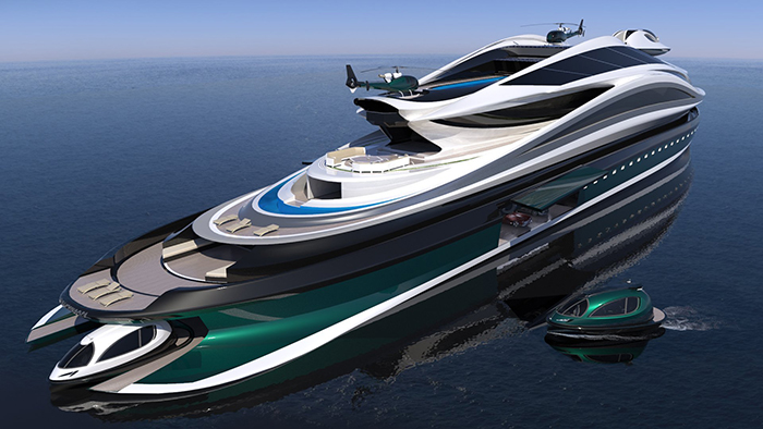 luxury electric yacht concept with jet capsule tenders