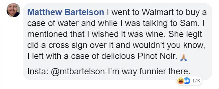matthew bartelson facebook comment walmart streator cashier of the week