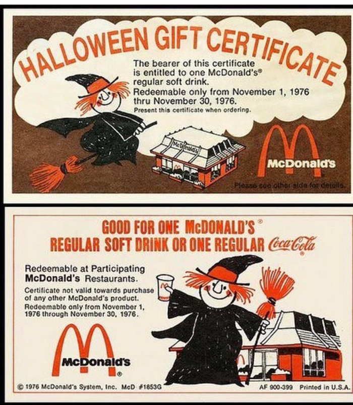 mcdonald's halloween gift certificates