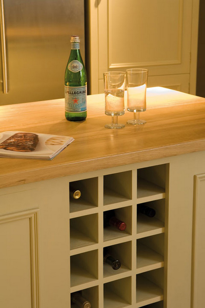 neptune island counter with wine bottle storage rack