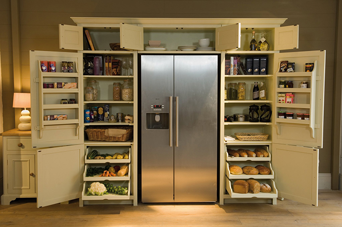 neptune wrap-around refrigerator pantry front open