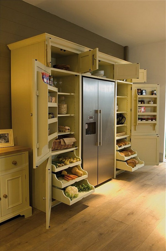 neptune wrap-around refrigerator pantry side open