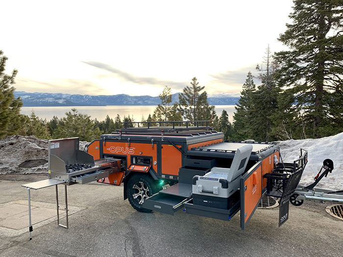 opus camper op4 slide-out kitchen stove and dish rack