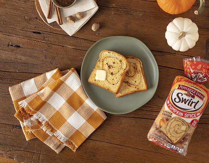 pepperidge farm swirl pumpkin spice bread serving