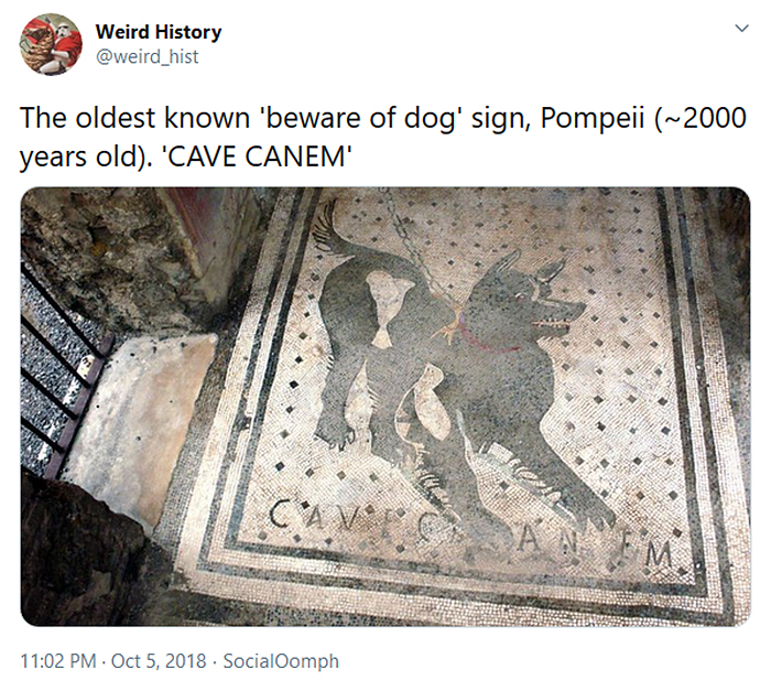 pompeii oldest beware of dog sign