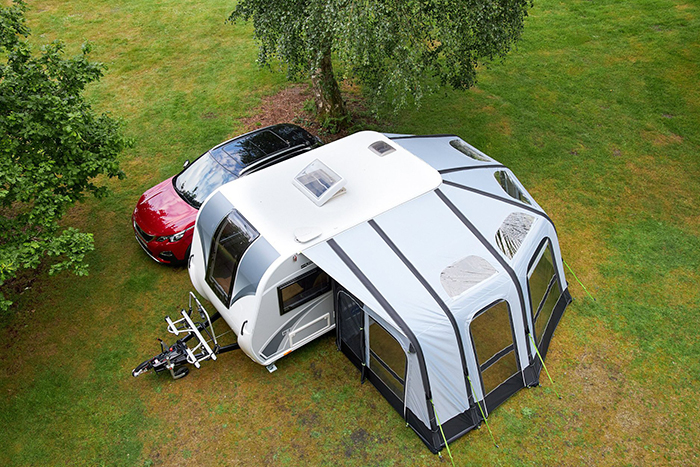 rv with wraparound air awning