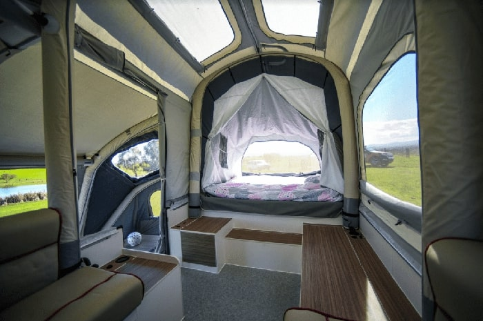 self-inflating trailer interior bed