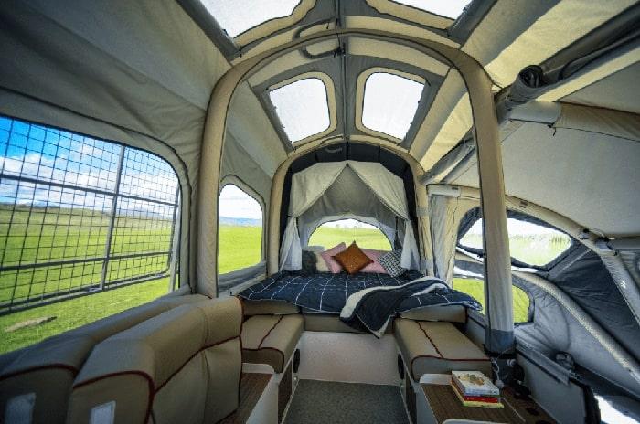 self-inflating trailer interior