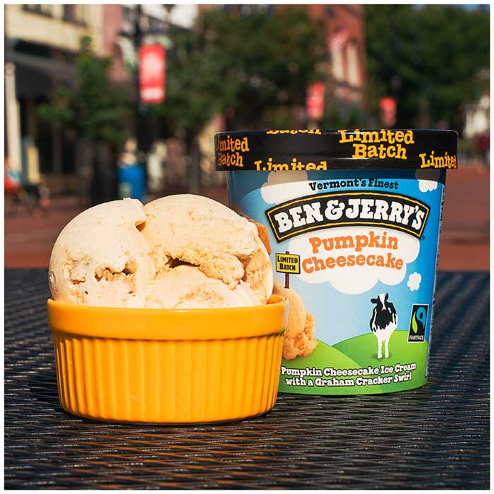 serving suggestion of ben & jerry's pumpkin cheesecake ice cream