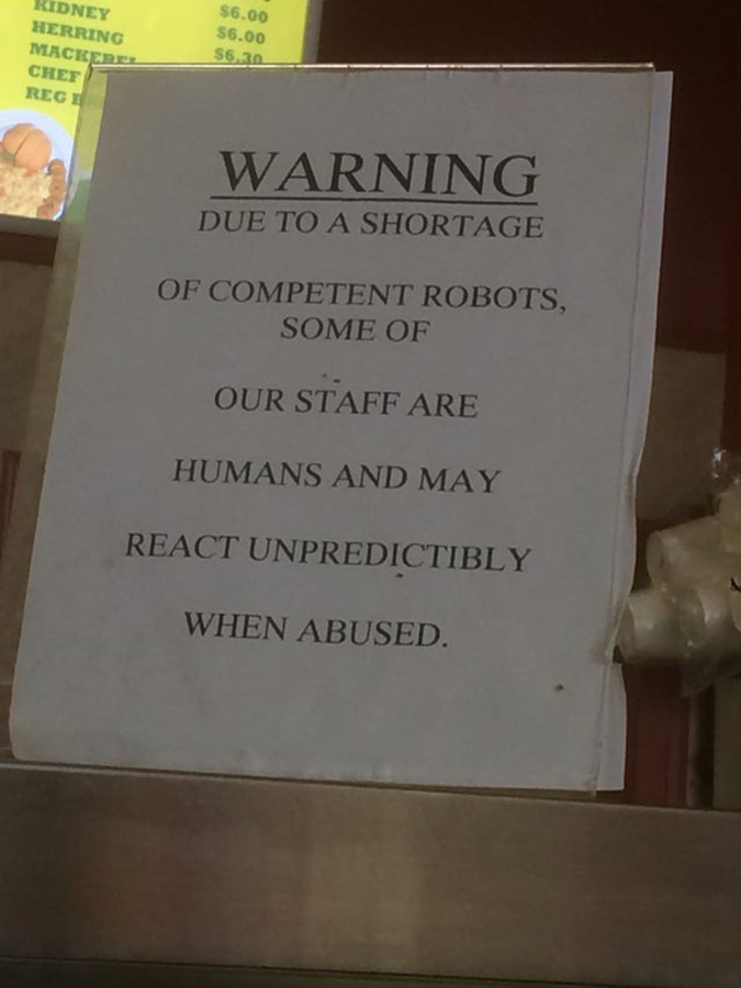 shop puts up a sign telling patrons not to abuse staff