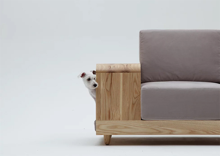 sofa with integrated pet house