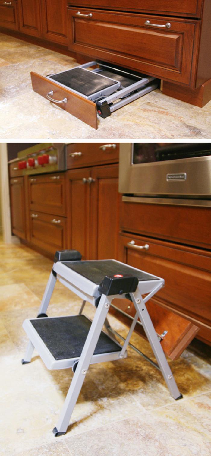 space-saving drawer hides step stool