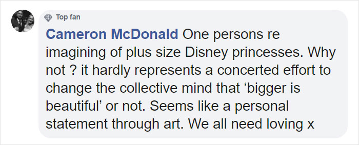 supportive comment about crystal walter's fat disney princesses-a personal statement