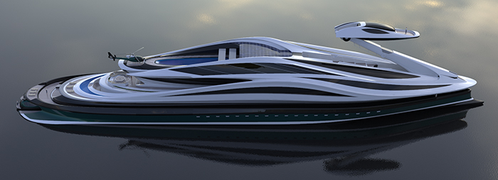 swan-shaped luxury electric yacht concept
