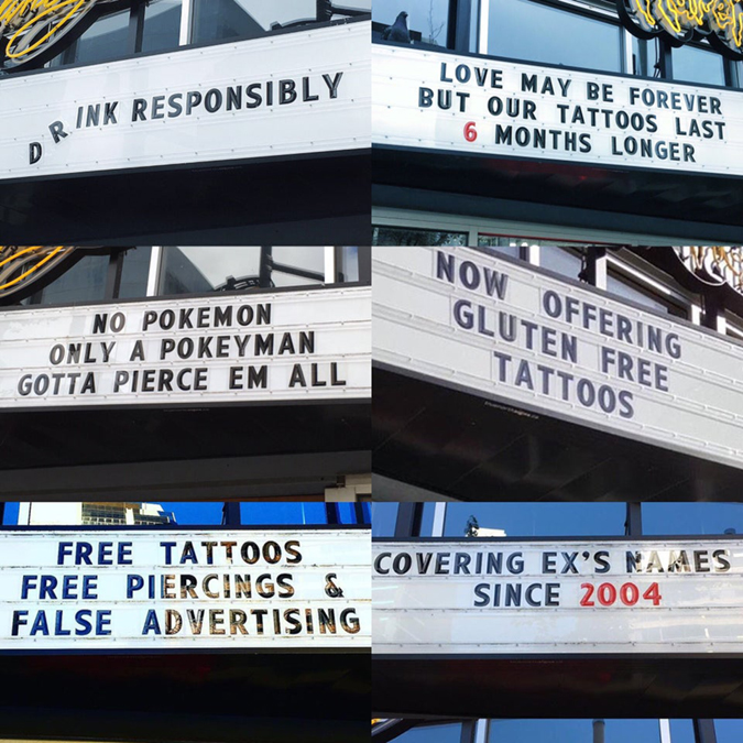 tattoo shop has funny signs